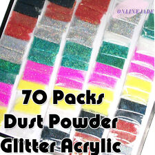 70 Packs Mix Color Dust Powder Glitter Decoration For Nail Art Tip Acrylic Gel