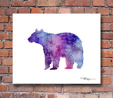 Purple Bear Watercolor Painting Art Print by Artist DJ Rogers