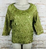 Origami Magic Scarf Shirt Blouse 3/4 Sleeve Top Green On Green One Size