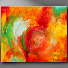 Happy Contemporary painting red green yellow turquoise palette knife art by Anya