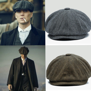 Peaky Blinders Hat Newsboy Flat Cap Herringbone Tweed Wool Baker Boy Gatsby Mens
