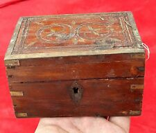 1850's Antique Rare Hand Crafted Wooden Jewellery Box With Mirror Fitting