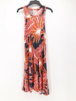 Gap Womens Blouson Dress Orange Pink Floral Sleeveless Knee Length Scoop Neck XS