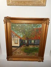 Antique oil painting,{ Woman is feeding her chickens, is signed }.