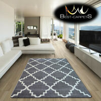 AMAZING THICK MODERN RUGS SKETCH Trellis GREY WHITE F343 LARGE SIZE BEST-CARPETS