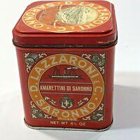 "Vintage Red Italian Amarettini Di Saronno Cookie Tin Canister 4"" Tall"