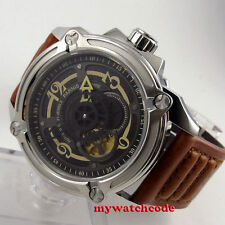 44mm Parnis black dial 21-jewels miyota Sapphire Glass Automatic mens Watch P662