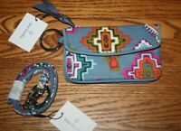 Vera Bradley Painted Medallions JEN ZIP ID CASE AND LANYARD wallet gray holder