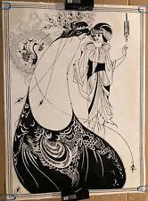 Peacock Skirt Original Vintage Poster Aubrey Beardsley 1971 Pin Up Woman Love