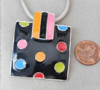 "Black Neon Polka dot Enamel Slide Pendant 16"" Snake Chain Silver  Necklace 7m 20"