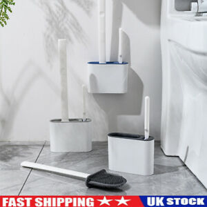 Silicone Toilet Brush with Toilet Brush Holder Wall-Mounted Cleaning Brush Set Q