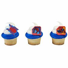 24 Spiderman Homecomimg Cupcake Ring Toppers/Favors! NEW! Birthday Supplies-NEW