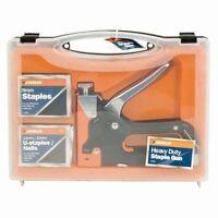 New Heavy Duty Staple Gun (4 Pieces) Stapler Tacker With Staples Upholstery