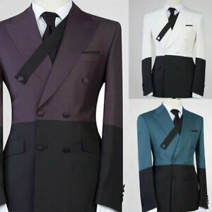 Jacket Pants Men Suits Wedding Coat Splicing Blazer Double Breasted Gown Tuxedos