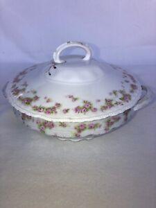 Antique Victoria Austria Purple Floral Dinnerware Soup Tureen With Lid Porcelain
