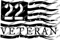 Veteran 22,Flag,Suicide Awareness,PTSD,Military,Support Our Troops,Vinyl Decal