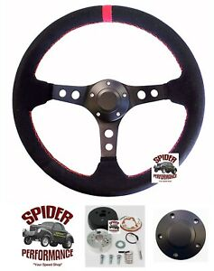 "1969-1992 Cutlass F85 442 Omega Toronado steering wheel 13 3/4"" RED LINE SUEDE"