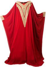 New Dubai Style Red kaftan moroccan farasha Jalabiya maxi dress abaya + Size
