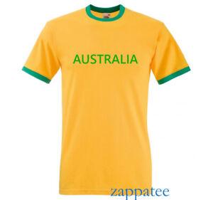 Australia T Shirt. Yellow & Green Australian ringer Tee. Sizes S - 3XL