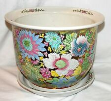 """New 10.5"""" Oriental Embossed Colorful Floral Flowers Planter Plant Pot & Saucer"""