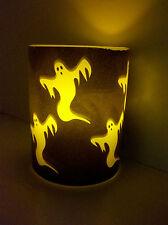 Flameless Real Wax Pillar Candle, Halloween Ghost Design by Enjoy