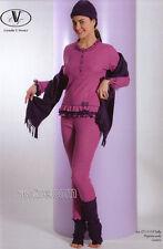 Pigiama Serafino Donna Ragazza tg. 42 Costina Cotone Strass Fucsia C.T.Versace
