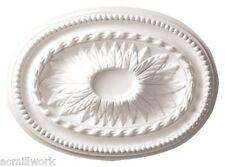 Ceiling Medallion Oval 18 x 13 Inch White Polyurethane for Light fixture D592