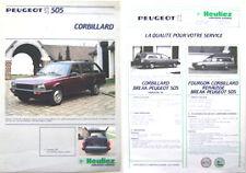 PEUGEOT 505 heuliez corbillard charrette brochure français