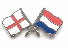 England & Holland Flags Friendship Courtesy Enamel Lapel Pin Badge