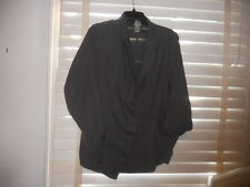 NWOT Lilith France ~Art to Wear~ Slate Quirky Asymm Button Up Linen Jacket  ~ LL