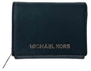 Michael Kors Purse Trifold Wallet Navy Dark Blue Saffiano Leather Small Womens