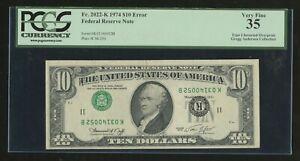 FR2022-K $10 1914 FRN INVERTED 3RD PRINT TYPE 1 ERROR PCGS 35 VF HW1570