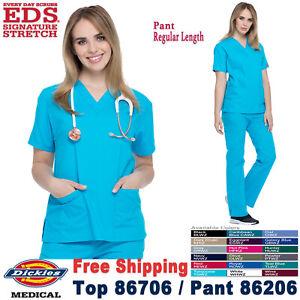 Dickies Scrubs Set EDS SIGNATURE Women V-Neck Top Cargo Pant 86706/86206 Regular
