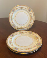"3 Noritake China Coypel 3732 Flowers Gold Trim 7 1/2"" Dessert Salad Plates"