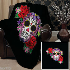 Skull Candy Rose Design Doux Couverture polaire Housse sofa lit GRAND chaise