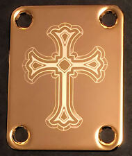Engraved Photo Etched GUITAR NECK PLATE - Fits Fender - CROSS - Gold