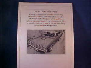 1968 Ford RANCHERO factory cost/dealer window sticker price for car+options '68