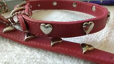 "Mirage  Deep Red Sweet Heart Leather Dog Collar, 14"" long s 10-12 neck size"