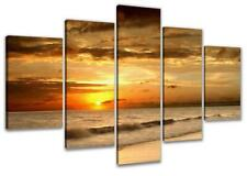 Urban Designs 'Beach' Multi-Piece Photo Print on Canvas 50 H x 100 W x 2cm D
