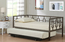 Brown Metal Twin Size Miami Day Bed (Daybed) Frame With Pop Up Trundle