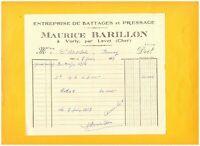 """VORLY / LEVET (18) Ets de BATTAGES & de PRESSAGE """"Maurice BARILLON"""" en 1954"""