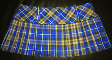 "Tartan Micro Mini 9.5"" length Kilt Skirt Blue & Black Schoolgirl - BNWT Size 10"