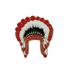 NATIVE HEAD DRESS WITH WORD  METAL PIN BADGE ..NEW