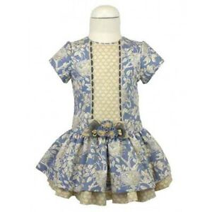 NEW GIRLS OFFICIAL CLASSIC SPANISH DRESS ANTIQUE CREAM-BLUE PATTERNED 4-8YEAR