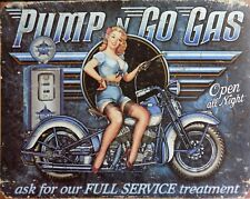 PLAQUE METAL vintage PIN UP Pump n Go Gas - 40 X 30 cm HARLEY INDIAN USA