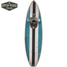 Surfboard Wood Bottle Opener Blue Striped- Beach Surf Tropical Home Decor