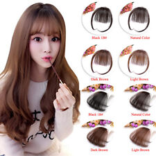 Thin Neat Air Bangs Clip in Front Fringe Hairpiece 100% Real Human Hair Bangs