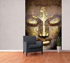 Modern Shimmering Buddha Face Feature Wallpaper Mural, Wood, Gold, 1.58 x 2.32 m