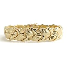 Wide Woven Textured Chain Bracelet 14K Yellow Gold, 6.75 Inches, 16.47 Grams