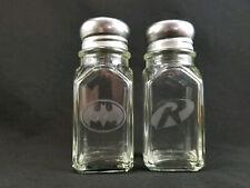New - Batman & Robin Set of Salt & Pepper Shakers - Etched Glass - Gotham